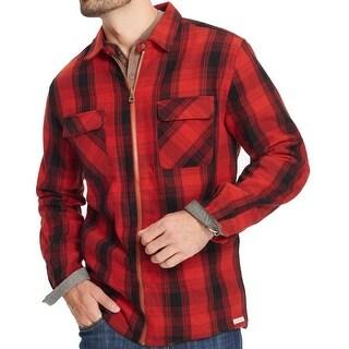 Weatherproof Crimson Red Mens Size 2XL Plaid Twill Full Zip Jacket