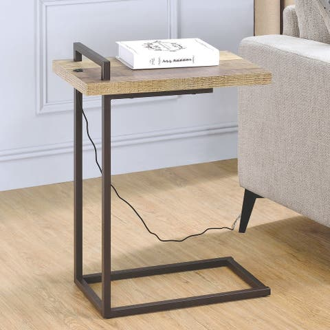 Mid Century Design Living Room Accent Snack Table with USB Port