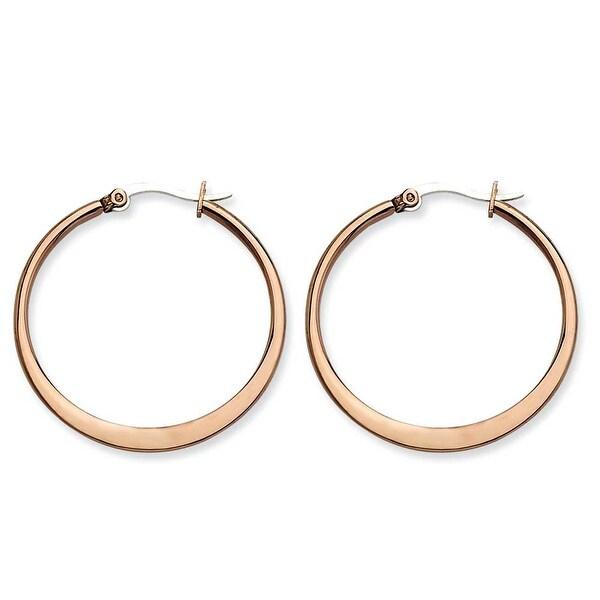 Chisel Stainless Steel Brown IP 34mm Hoop Earrings