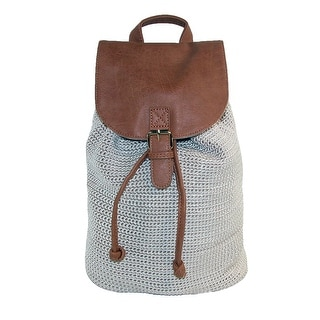 Dynamic Asia Crochet Backpack with Faux Leather Trim