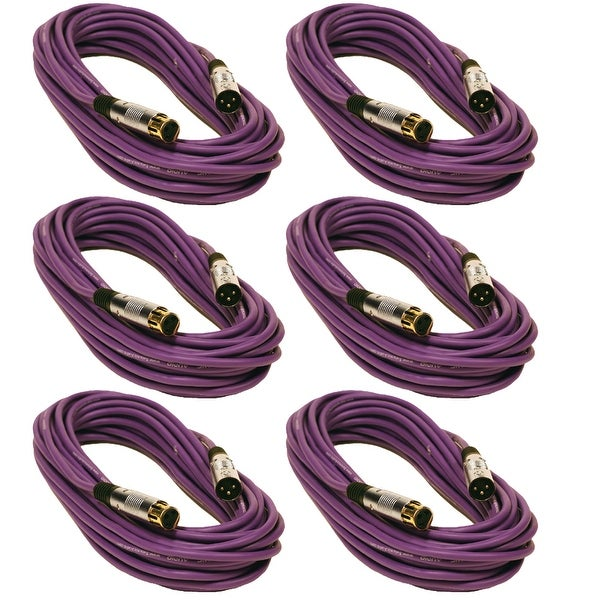 Seismic Audio 6 Pack 50 Foot Gold Plated Purple XLR Mic Microphone Patch Cable Cord Balanced