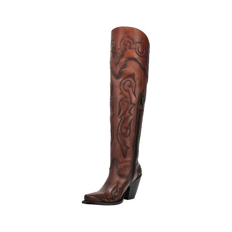 "Dan Post Fashion Boots Womens 20"" Seductress Leather Chestnut"