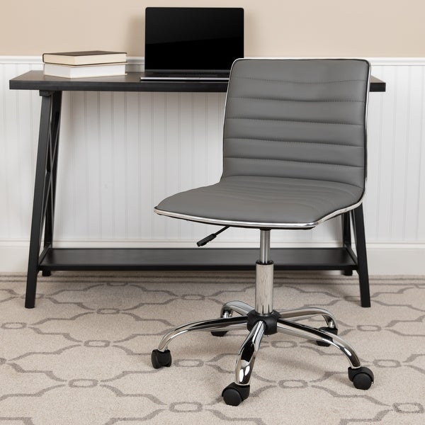 Low Back Designer Armless Ribbed Swivel Task Office Chair. Opens flyout.