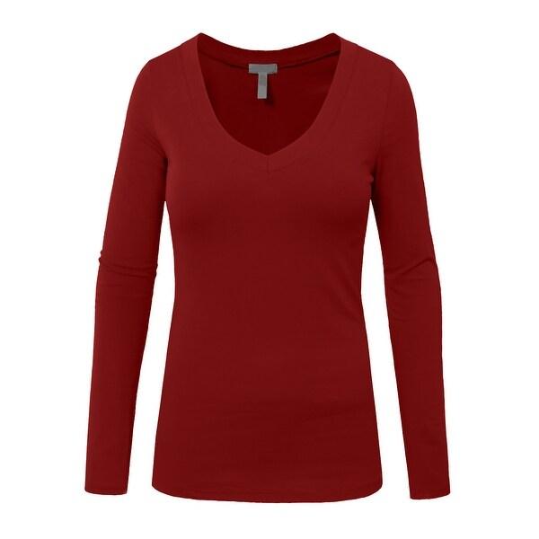 NE PEOPLE Womens Basic Long Sleeve V Neck Casual T Shirt [NEWT77]