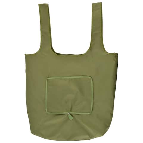 Nylon Rectangle Shaped Shoulder Hand Carrier Foldable Shopping Bag Army Green