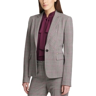 Link to DKNY Womens Plaid One Button Blazer Jacket, Multicoloured, 14 Similar Items in Suits & Suit Separates