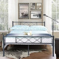 Easy-to-assemble  Metal Bed Frame Platform Mattress Foundation with Headboard ,Under-bed Storage,Multiple Color