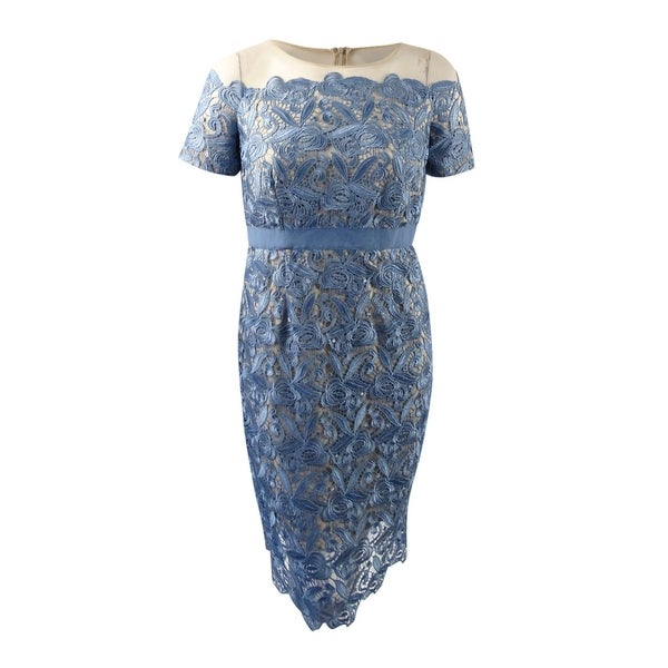 b1103ca5 Shop JAX Women's Illusion Lace Sheath Dress (16, Dusty Blue) - Dusty Blue -  16 - On Sale - Free Shipping Today - Overstock - 22989136