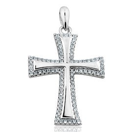 Sterling Silver Cross Charm For Women with Cubic Zircons Height 28mm By MidwestJewellery