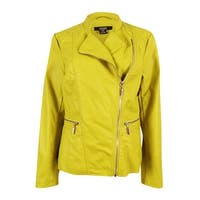 Alfani Women's Faux-Leather Moto Jacket - luxe lime