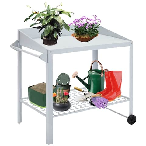 Kinsunny Steel Potting Bench and Utility Table with Wheel & Handle Workbench Portable Gardening Center Work Bench Station