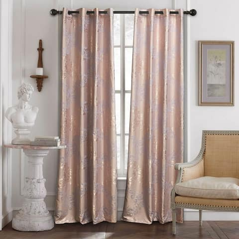 Curtains Damask Jacquard Grommet Semi-Blackout, Tall 60x100