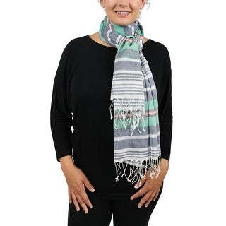 Moschino SCRR11009/3 Grey/Green Stripe Scarf - 26-74
