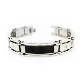 Men's Stainless Steel Bracelet w/ Carbon Fiber Inlay - 8.5 inches