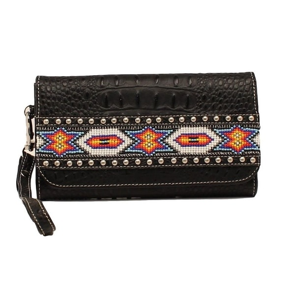 Blazin Roxx Western Wallet Womens Clutch Beads Black - 7 1/2 x 4 1/2