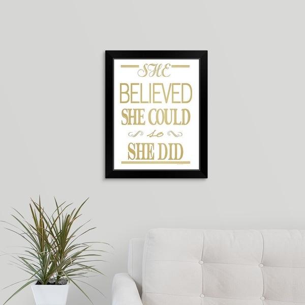 Jo Moulton Economy Framed Print with Standard Black Frame entitled Gold She Did
