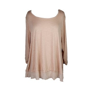 Style & Co Plus Size Blush Three-Quarter-Sleeve Top 2X