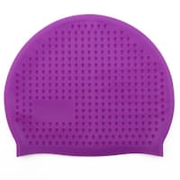 Adult Dome Shaped Water Resistant Elastic Swimming Cap Bathing Hat Purple