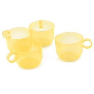 Home Cafe Plastic Circle Handle Tea Coffee Storage Drinking Cup Mug Yellow 4pcs