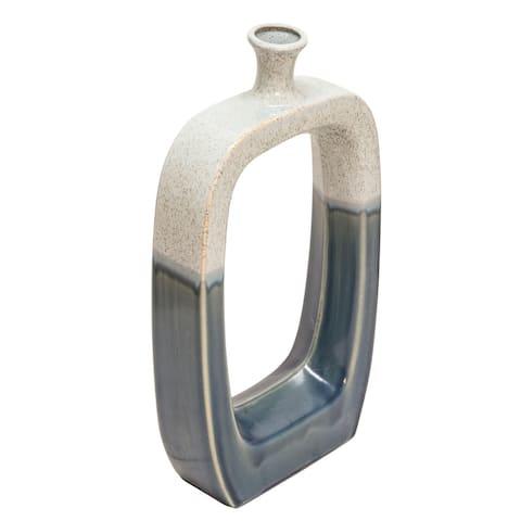 "Ec, Ceramic 18"" Vase W/Cutout White/Blue Rf"