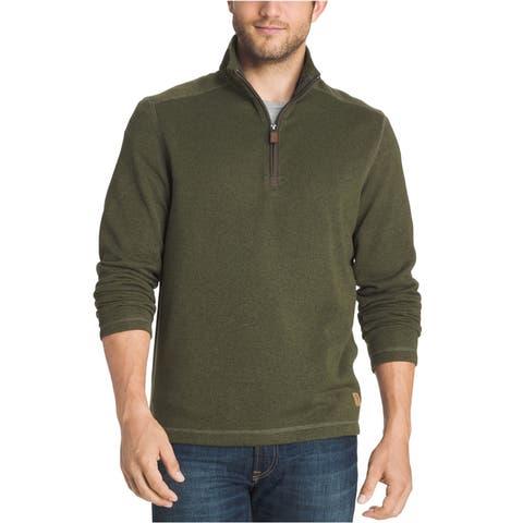 G.H. Bass & Co. Mens Zip-Neck Fleece Sweatshirt, Green, XXXX-Large