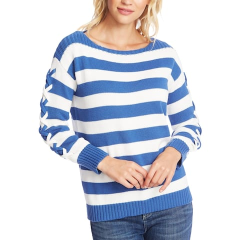 CeCe Womens Pullover Sweater Cotton Striped - Blue Jay