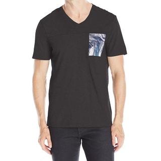 Calvin Klein NEW Black Mens XL Slim Fit Foil Pocket V-Neck T-Shirt Tee
