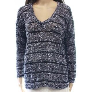 Splendid NEW Blue Striped Open-Knit Women's Medium M V-Neck Sweater