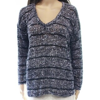 Splendid NEW Blue Womens Size Medium M V-Neck Striped Marled Sweater