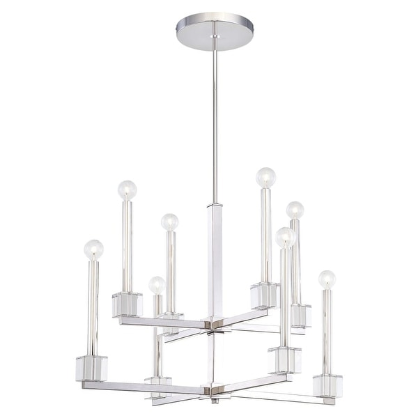 Metropolitan N6871 8-Light 2 Tier Candle Style Chandelier from the Chadbourne Collection - Polished Nickel