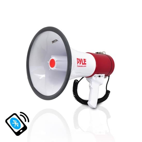 Bluetooth Megaphone Bullhorn with AUX (3.5mm) Input Built-in USB Flash & SD Memory Card Readers and Siren