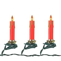 Set of 10 Clip-on Red and Gold Candle  Christmas Lights - 10 ft Green Wire