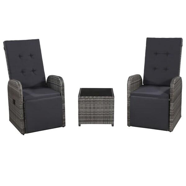 Shop vidaXL 3 Piece Bistro Set with Cushions Poly Rattan