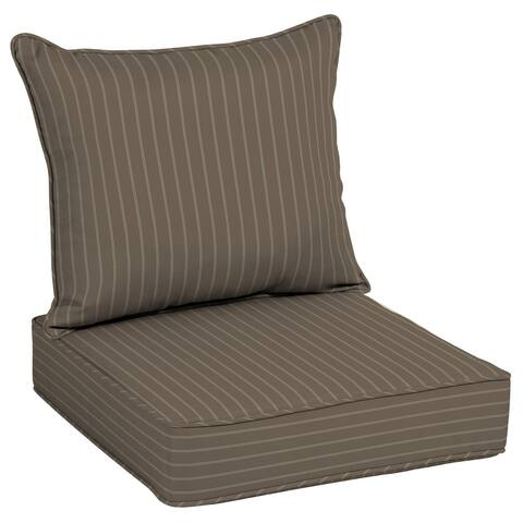 "Arden Selections Acrylic Mocha Stripe Outdoor Deep Seat Cushion Set - 25"" L x 25"" W x 7.5"" H"
