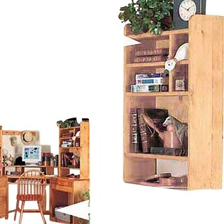 Wood Desktop Shelf Organizer Unit Unfinished Pine 22.5 Inches