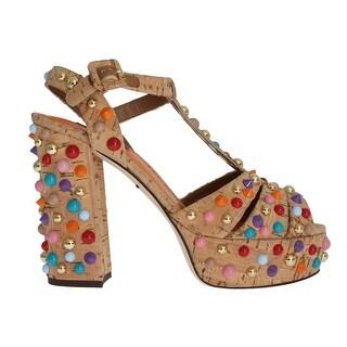 Dolce & Gabbana Dolce & Gabbana Beige Cork Studded Strap Sandals