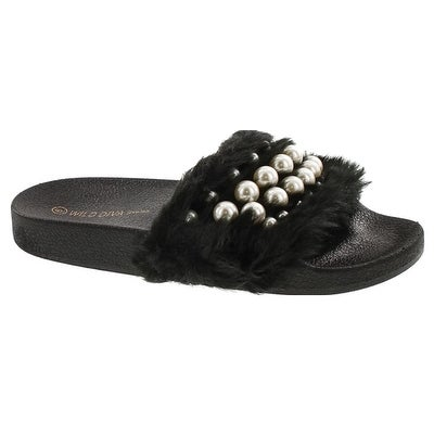 Wild Diva Women's Matty-04A Embellished Pearl Faux Fur Platform Wedge Slide Sandal