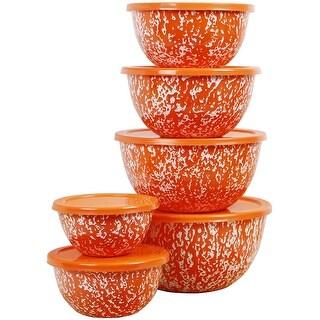 Calypso Basics by Reston Lloyd Marble 12 Piece Enamel on Steel Bowl Set, Orange