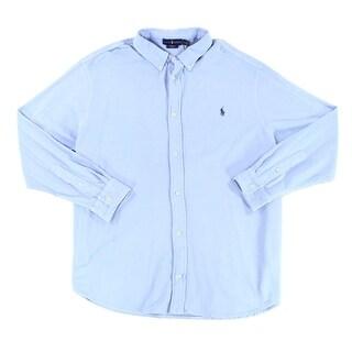 Ralph Lauren Blue Men 3XLT Featherweight Mesh Button Down Shirt