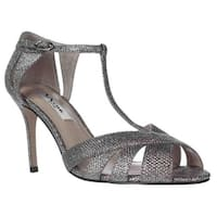 Nina Ricarda T-Strap Mesh Evening Sandals, Steel Dreamland