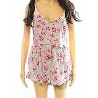 Mimi Chica NEW Blush Pink Womens Size Large L Floral V-Neck Romper