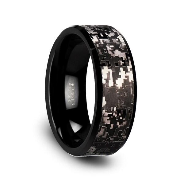 Thorsten Black Tungsten Carbide Wedding Ring With Engraved Digital Camouflage 8mm Smokescreen