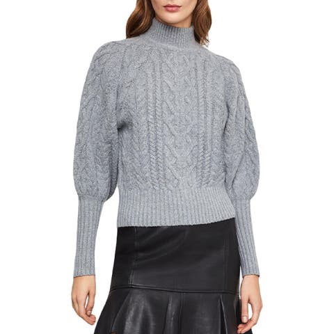 BCBG Max Azria Womens Pullover Sweater Wool Blend Cable Knit