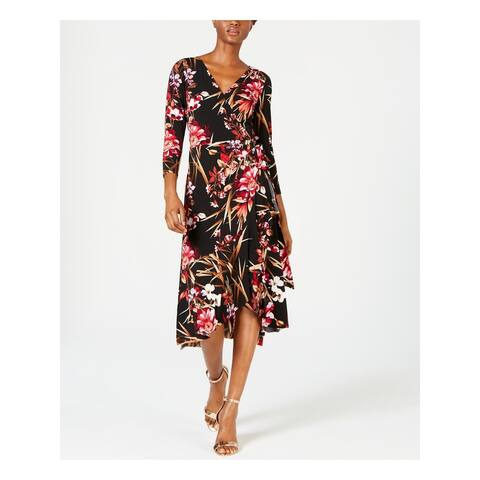 CONNECTED APPAREL Black 3/4 Sleeve Midi Wrap Dress Dress Size 18