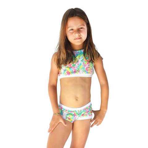 Azul Girls Multi Color Free Spirits Halter Top 2 Pc Shorts Swim Set