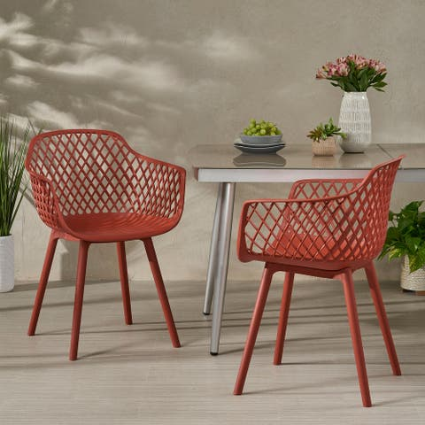Poppy Outdoor Modern Dining Chair (Set of 2) by Christopher Knight Home
