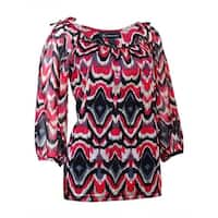 INC International Concepts Women's Embellished Printed Blouse - apache ikat