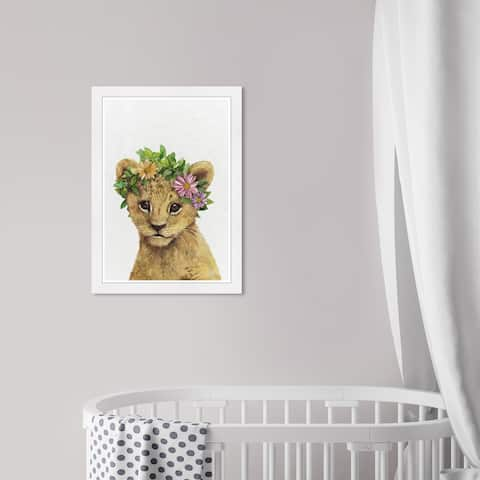 Olivia's Easel 'Floral Lion' Kids Wall Art Framed Print Brown, Green