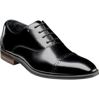 Stacy Adams Men's Barris Cap Toe Oxford 25190 Black Smooth Leather