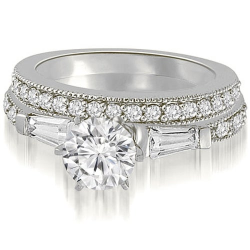 1.45 cttw. 14K White Gold Round And Baguette Cut Diamond Bridal Set